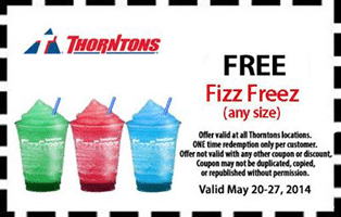 Free Fizz Freez at Thorntons Stores