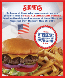 Free All-American Burger at Shoney's for All Military Personnel on 5/26