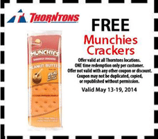 Free Munchies Crackers at Thorntons Stores
