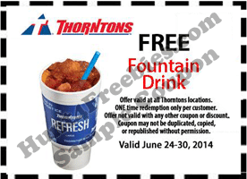 Free Fountain Drink at Thorntons