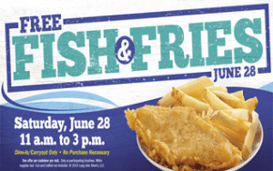 Free 1 Pc Fish & Fries at Long John Silver's on 6/28