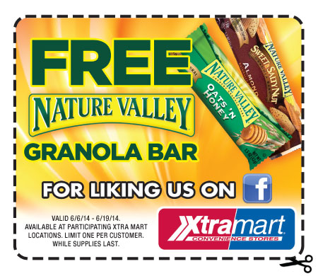 Free Nature Valley Granola Bar at Xtra Mart