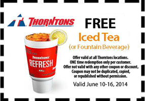 Free Iced Tea at Thorntons