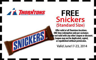 Free Snickers Candy Bar at Thorntons