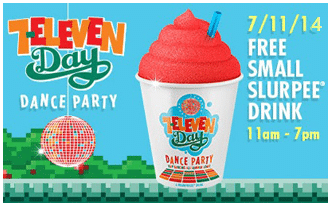 Free Small Slurpee Drink at 7-Eleven on 7/11
