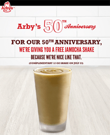 Free Jamocha Shake at Arby's Today