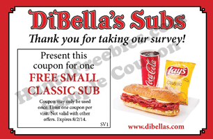 Free Small Classic Sub Sandwich at Dibella's