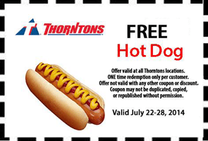 Free Hot Dog at Thorntons