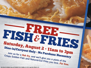 Free Fish & Fries at Long John Silver's on 8/2
