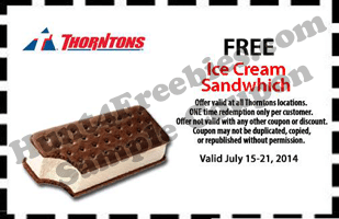 Free Ice Cream Sandwich at Thorntons Stores