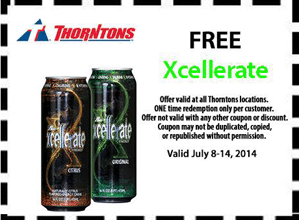 Free Xcellerate Drink Sample at Thorntons Stores