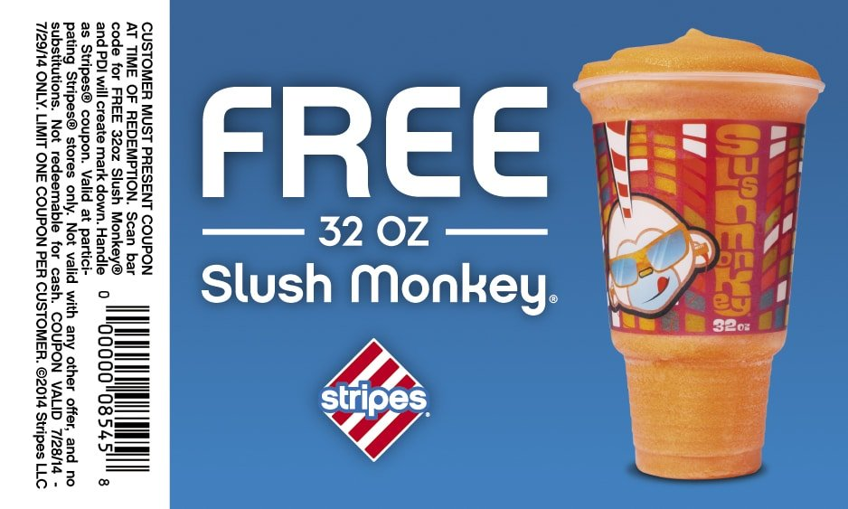 Free Slush Monkey at Stripes Stores