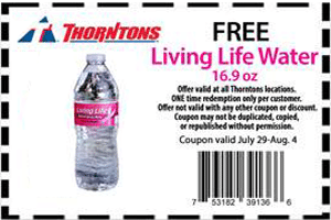 Free Bottle of Living Life Water at Thorntons Stores