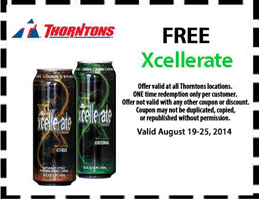 Free Xcellerate Drink at Thorntons Stores