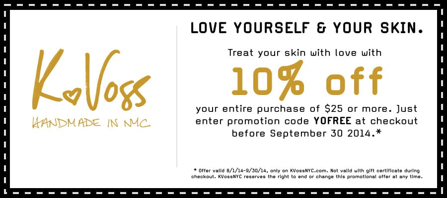 Free Coupon for 10% Off KVossNYC Organic Skincare Products Site-Wide