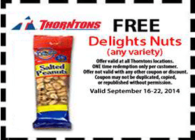 Free Delights Nuts at Thorntons
