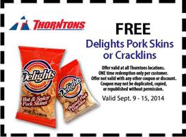 Free Delights Pork Skins at Thorntons