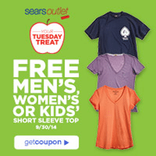 Free Men's, Women's, or Kid's Short Sleeve Top at Sears Outlet Stores on 9/30