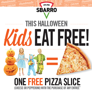 Free One Slice of Pizza at Sbarro With the Purchase of  Any Entreẻ