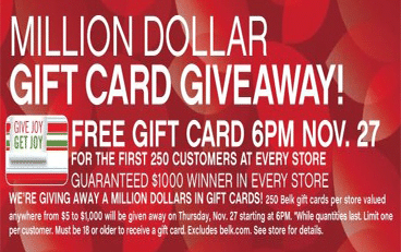 Free Gift Card at Belk Stores Today