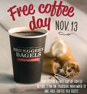 Free Coffee at Bruegger's on 11/13