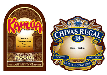 Free Chivas Regal, Kahlua and The Glenlivet Personalized Gift Labels