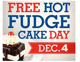 Free Hot Fudge Cake at Shoney's on 12/4