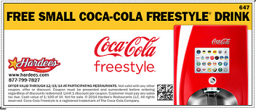 Free Small Coca-Cola Freestyle Drink at Hardee's