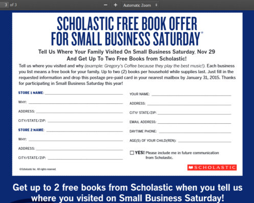 2 Free Scholastic Books for Small Business Saturday (11/29) Shoppers