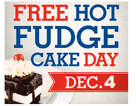 Free Hot Fudge Cake at Shoney's on 12/4