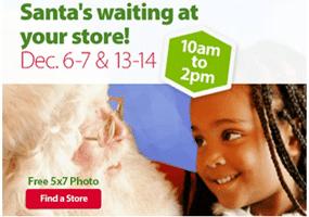 Free 5×7 Photo with Santa at Walmart