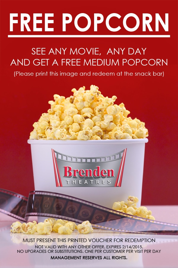 Free Popcorn At Brenden Theaters (Select Locations)
