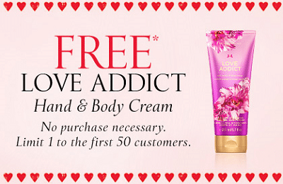 Free Love Addict Hand & Body Cream at Victoria's Secret on 2/8 (First 50 People Only)