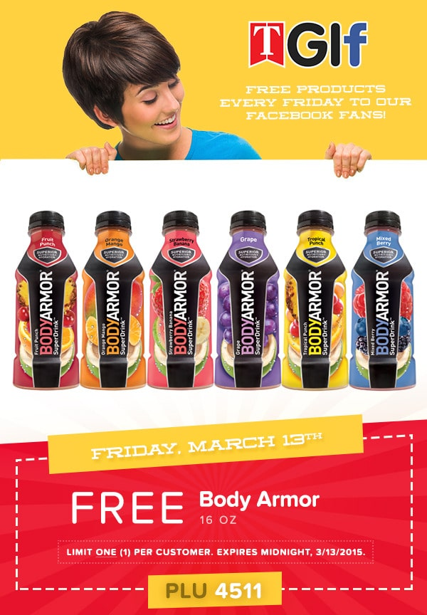 Free 16oz Bottle Of Body Armor At Tedeschi Food Shops