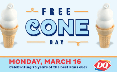 Free Ice Cream Cone at Dairy Queen on 3/16