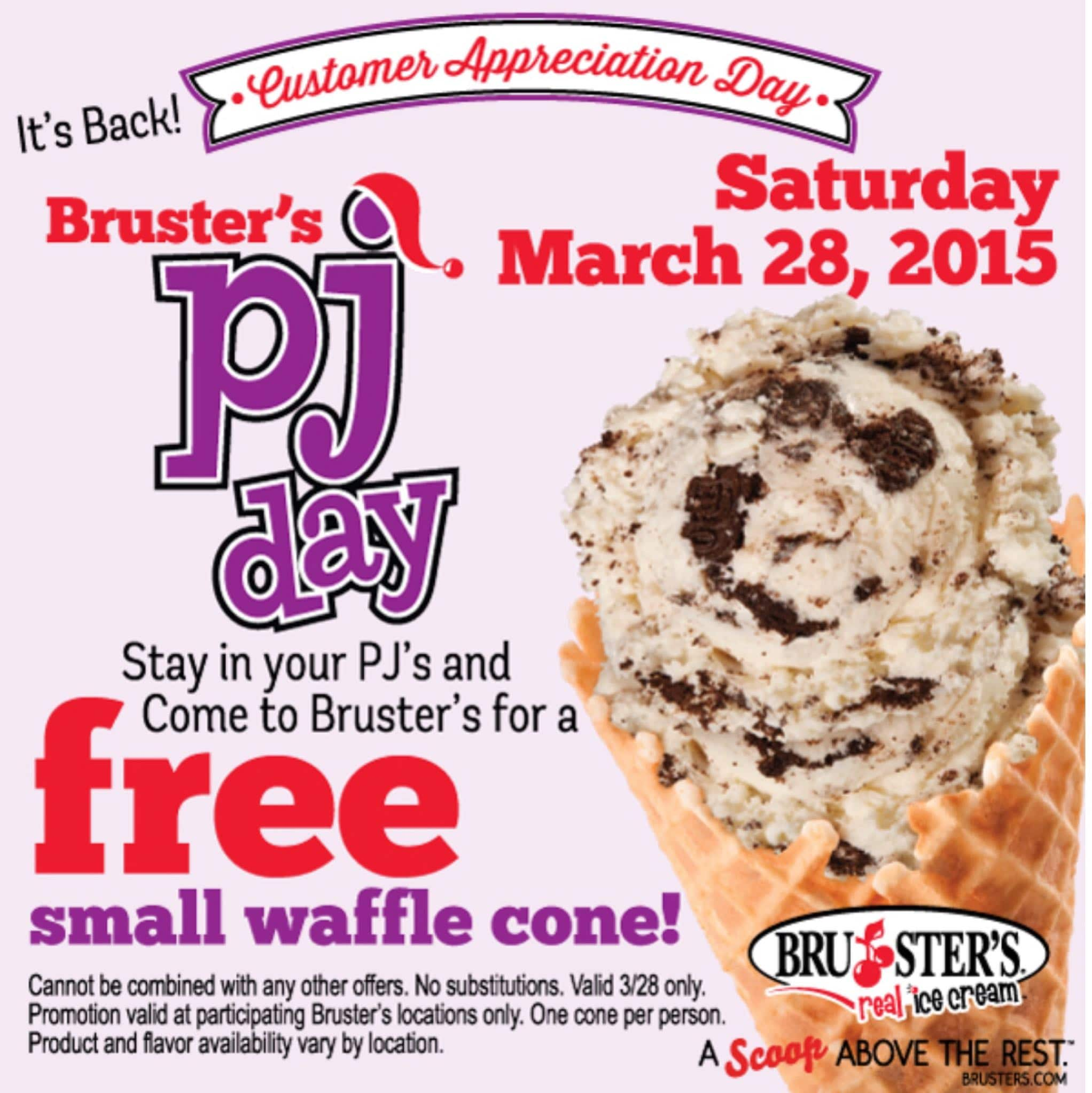 Free Small Waffle Cone at Bruster's When You Wear Your PJ's on 3/28