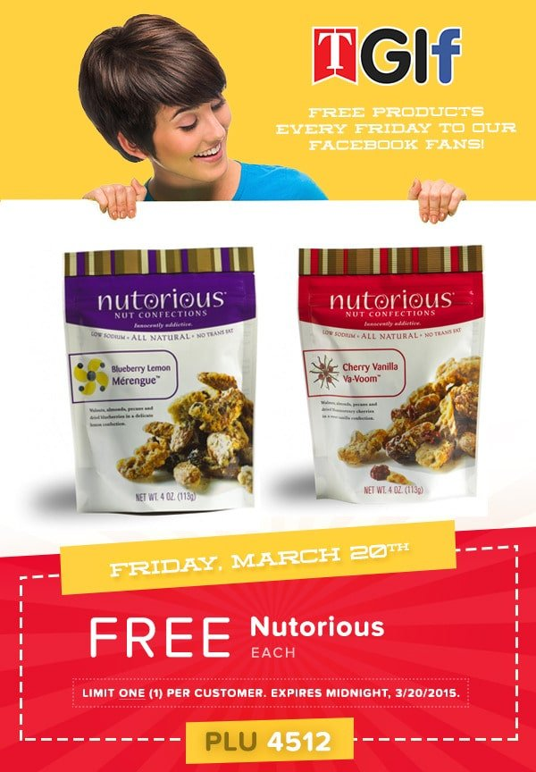 Free Nutorious Nut Confections at Tedeschi Food Shops on 3/20