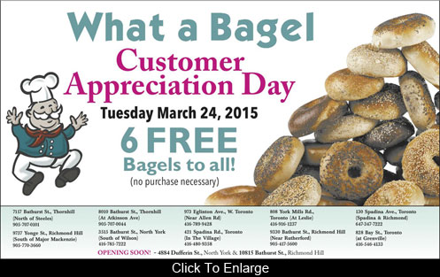 Free 6 Bagels At What A Bagel Today  (Canada Only)