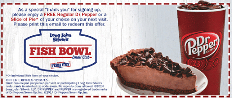Free Dr. Pepper or Slice of Pie at Long John Silver's