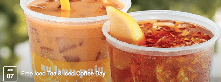 Free Medium Iced Tea or Iced Coffee at Au Bon Pain on 04/7