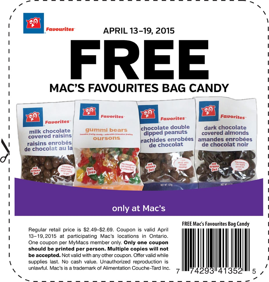 Free Bag Of Favourite Candy At Mac's (Canada Only)