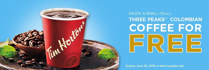 Free Small Three Peaks Coffee From Tim Hortons (Canada Only)