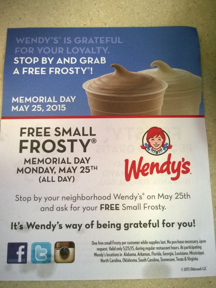 Free Wendy's Small Frosty on Memorial Day