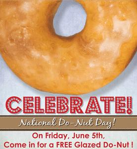 Free Glazed Do-Nut at Shipley Donuts on 6/5