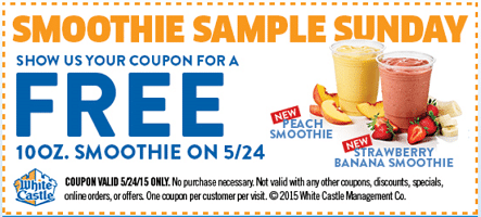 Free Smoothie at White Castle on 5/24