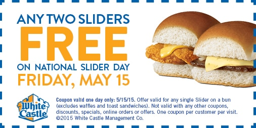 Free 2 Sliders at White Castle on 5/15