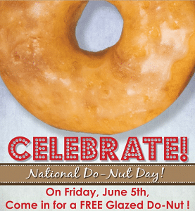 Free Glazed Do-Nut at Shipley Donuts on 6/5