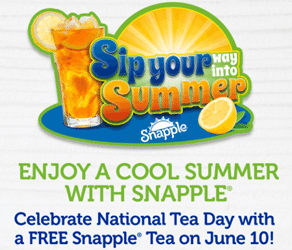 Free Snapple Drink Coupon Today