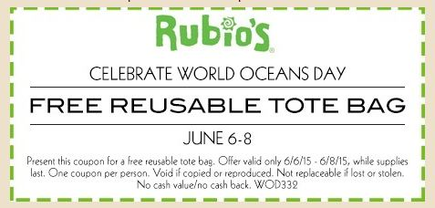 Free Tote Bag at Rubio's (Valid 6/6 – 6/8)