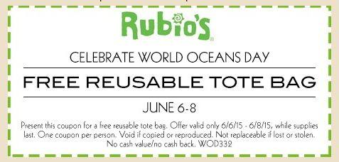 Free Tote Bag at Rubio's (Valid 6/6 – 6/8)